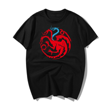 Game Of Thrones Vintage Tees Men T Shirt TV Series House Targaryen Cotton T-Shirt Cotton Short Sleeves T-Shirt Streetwear game over pattern cotton short sleeves t shirt for men white size xxxl