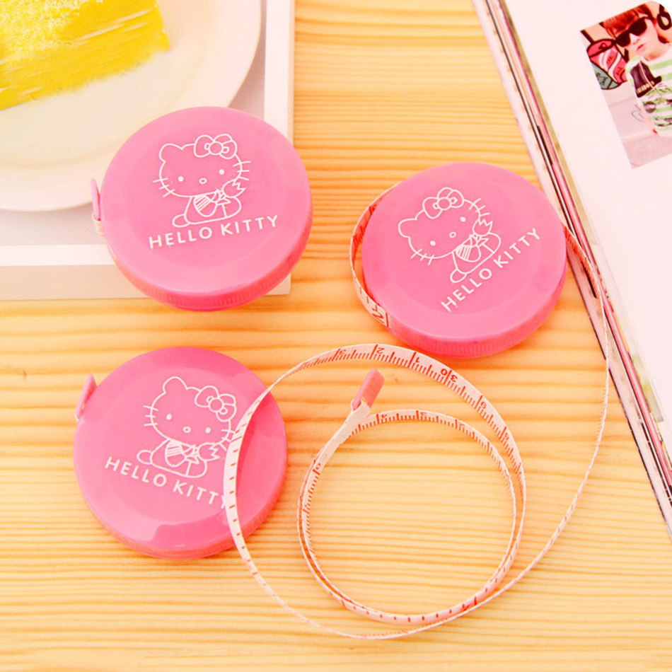 1Pcs 1.5 Meter Cute Hello Kitty Pink Sewing Measurement Retractable Tailor Crafts Ruler Tape Measures.Cloth Dieting Tailor E2040