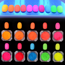 1 Box Neon Phosphor Powder Nail Gradient Pigment Powder 10 Colors Manicure Nail Art Decoration Accessories
