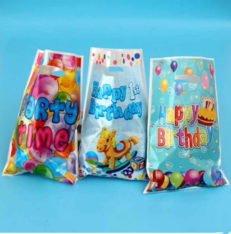 Cartoon Promotional Plastic Gift Bag Kids Happy Birthday With Handle Candy Loot Bags On Aliexpress