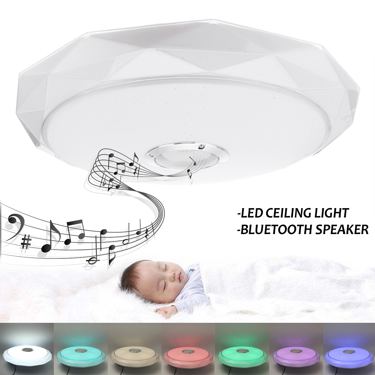 Bluetooth Speaker Ceiling Light Smart Remote Control RGB LED Ceiling Music Lamp Dimmable Living Room Lighting Fixture Bedroom