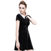Steampunk Peter Pan Collar Black Women Wool Knitted Dress Gothic Ladies Fashion Short Sleeve Princess Dresses Plus Size 3XL