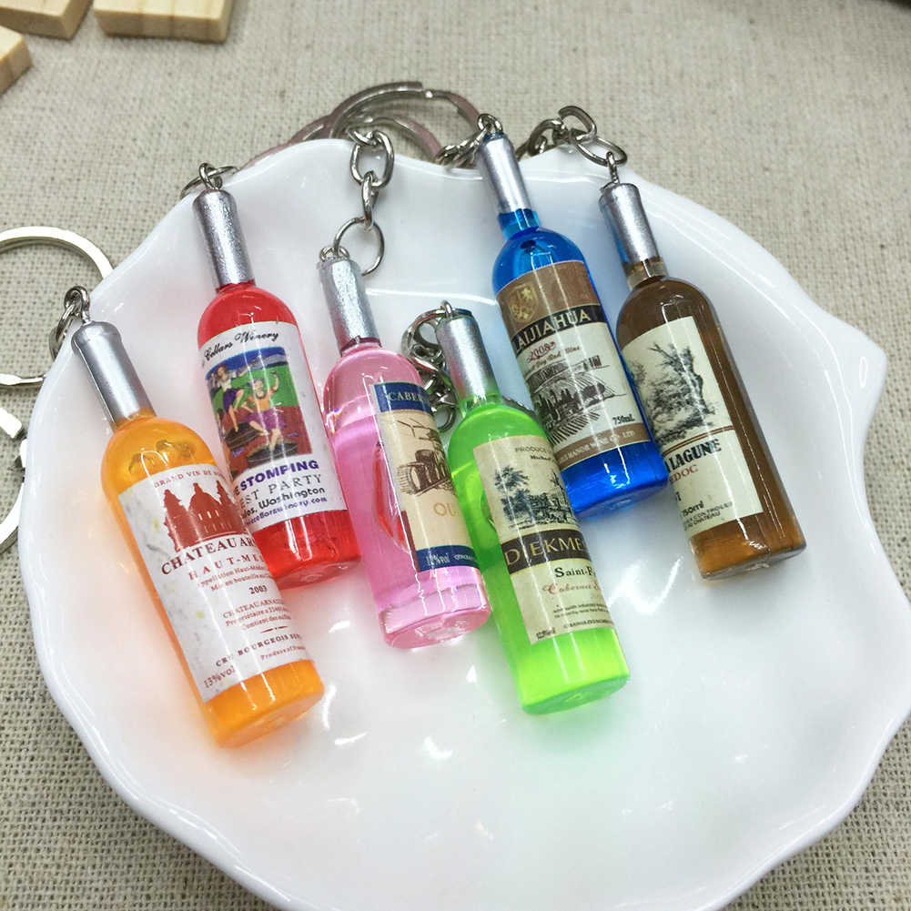 Couple Car Key Ring Creative Beer Bottle Keychain Phone Bag Charm Pendant Gift