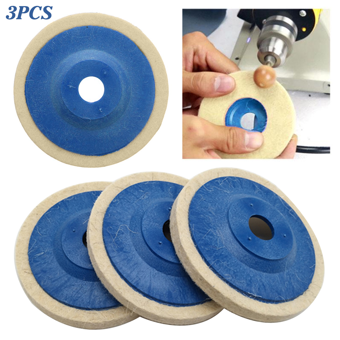 100mm Wool Polishing Wheel Buffing Pads Angle Grinder Wheel Felt Polishing Disc For Metal Marble Glass Ceramics 3PCS