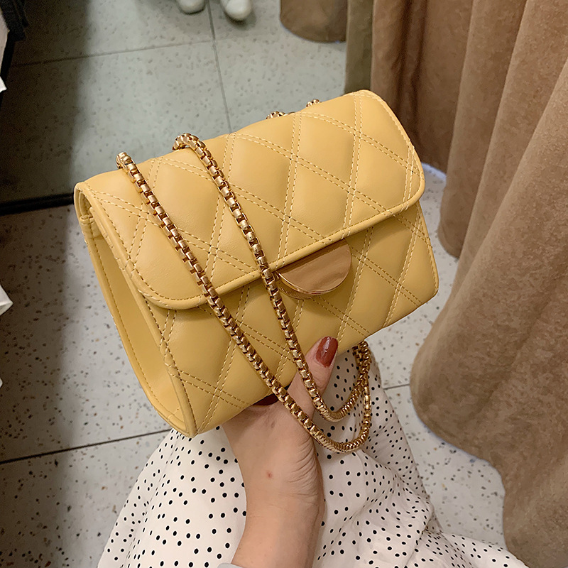 New 2019 Women's Bag Chain Fashion Single Shoulder Slung Female Bags for Women Female Wild Square Black Yellow White Green