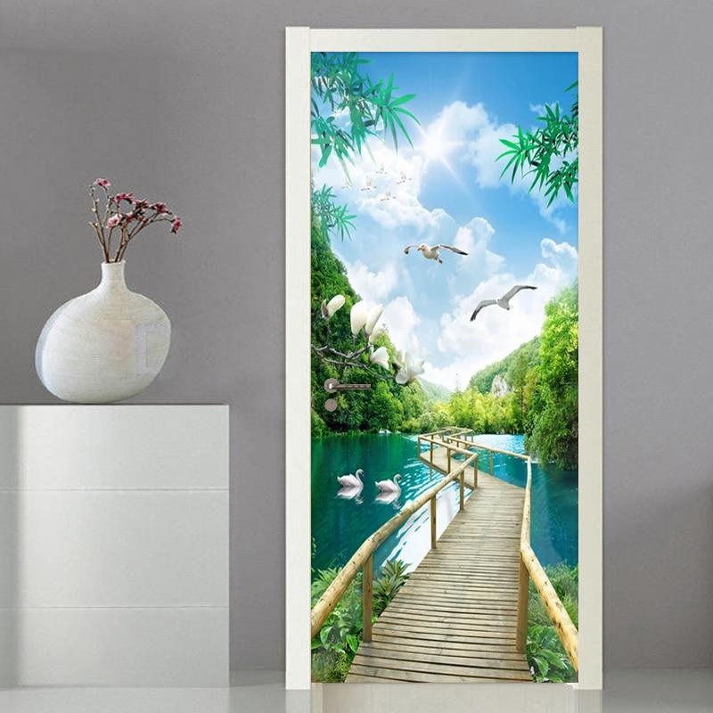 PVC Self Adhesive 3D Door Wallpaper Nature Landscape Wooden Bridge Photo Wall Mural Door Sticker Living Room Home Decor Sticker