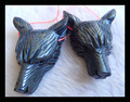 customized for kristen puschusSale 3pc Carved Wolf Head Hematite necklace pendant,50x40mm