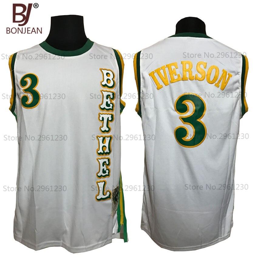 Prix pour BONJEAN Pas Cher #3 Allen Iverson Jersey Bruins de Bethel Lycée de Basket-Ball Jersey Piqué Régression Shirts Blanc