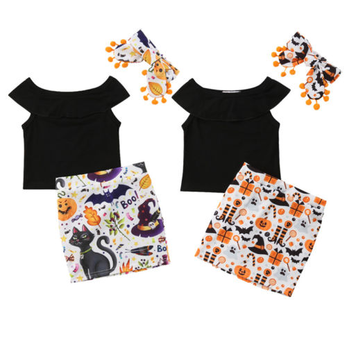 Newborn Kids Baby Girl Halloween Pumpkin Party Dress Cosplay Costume Toddler Girls Floral T-shirt Skirts 3Pcs Halloween Gifts