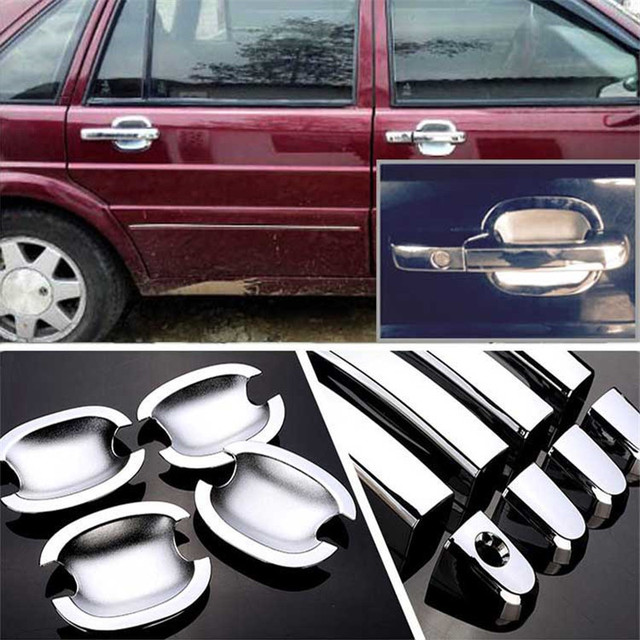 $ 28.19 Non-Rusty Chrome Door Handle Bowl Cover Cup Overlay Trim For VW Santana2000