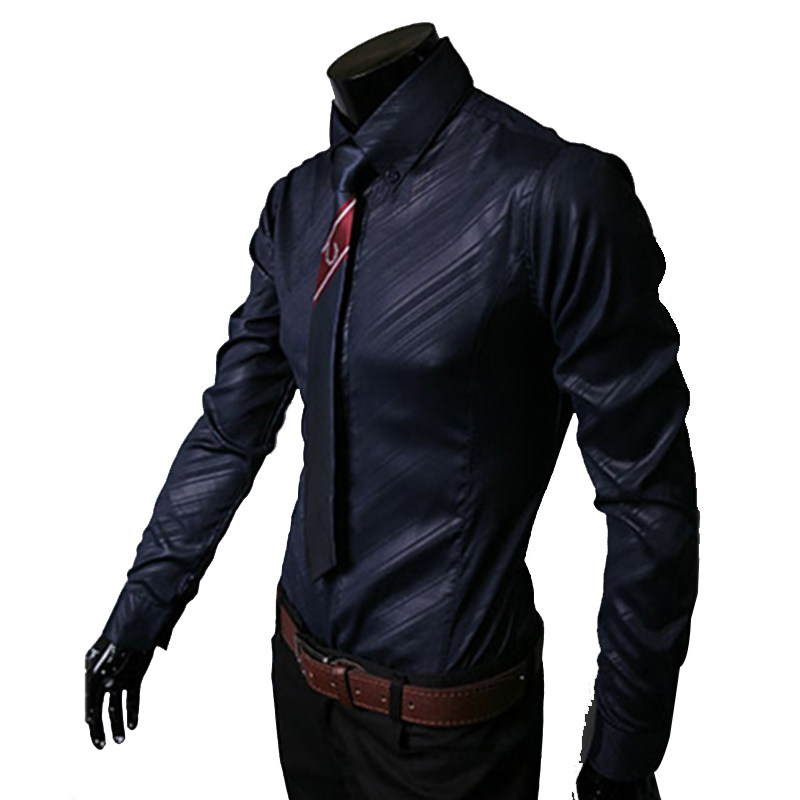 2018 New Mens Stripes Shirts Long Sleeved Slim White Social Shirts Casual Male Clothes Camisa Masculina Chemise Big Size XXXL 50