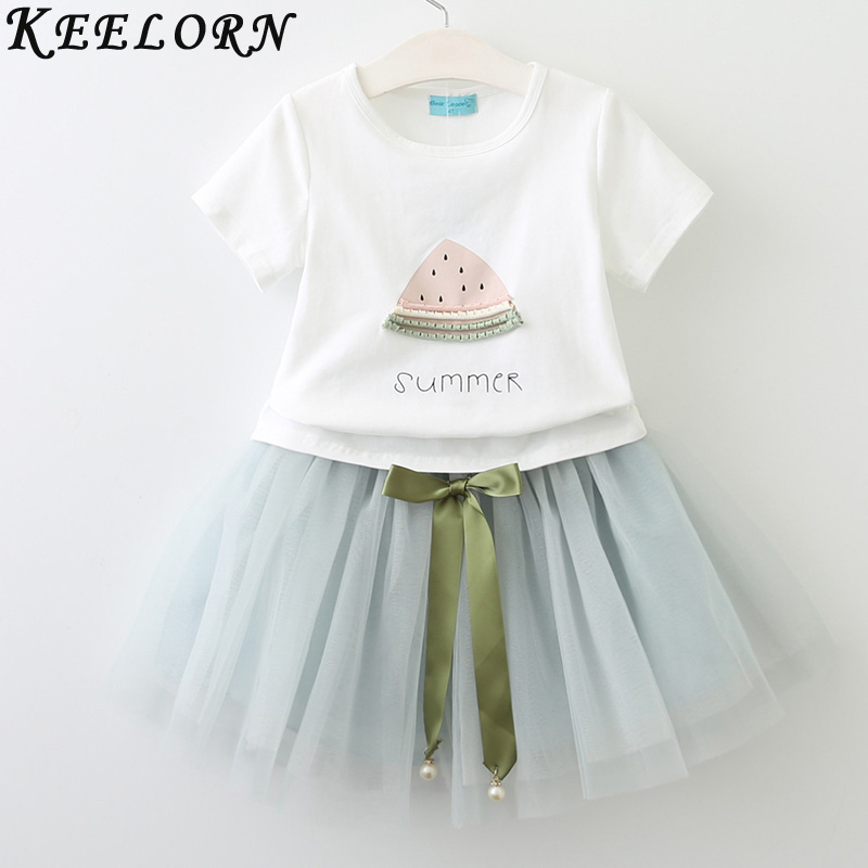 Keelorn Girls Clothing Sets 2017 Brand Children Clothes White Short T-Shirt +Short skirt 2Pcs Suit for Kids Clothes Summer Dress