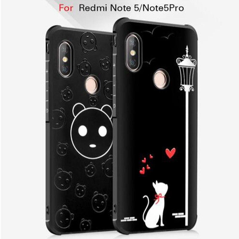 3D Relief Chat de Bande Dessinée Souple TPU Cas de Couverture de Silicone Pour Xiaomi Redmi Note 5 Pro Protection Complète Sur Xiomi Note5 5pro Téléphone Coque
