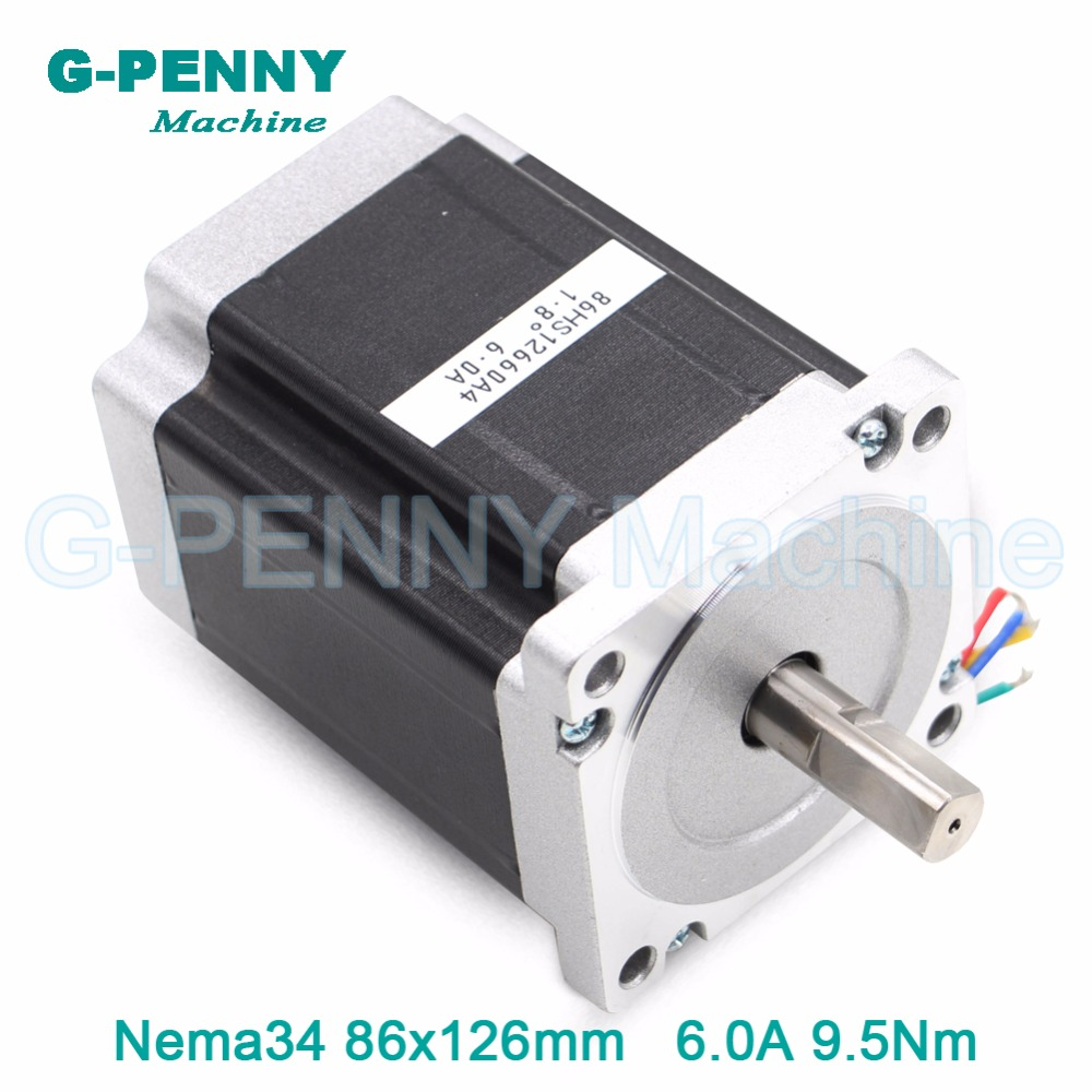 NEMA 34 CNC stepper motor 86X126mm 9.5N.m 6A D14mm 1350Oz-in nema34 cnc stepping motor for CNC engraving machine 3D printer