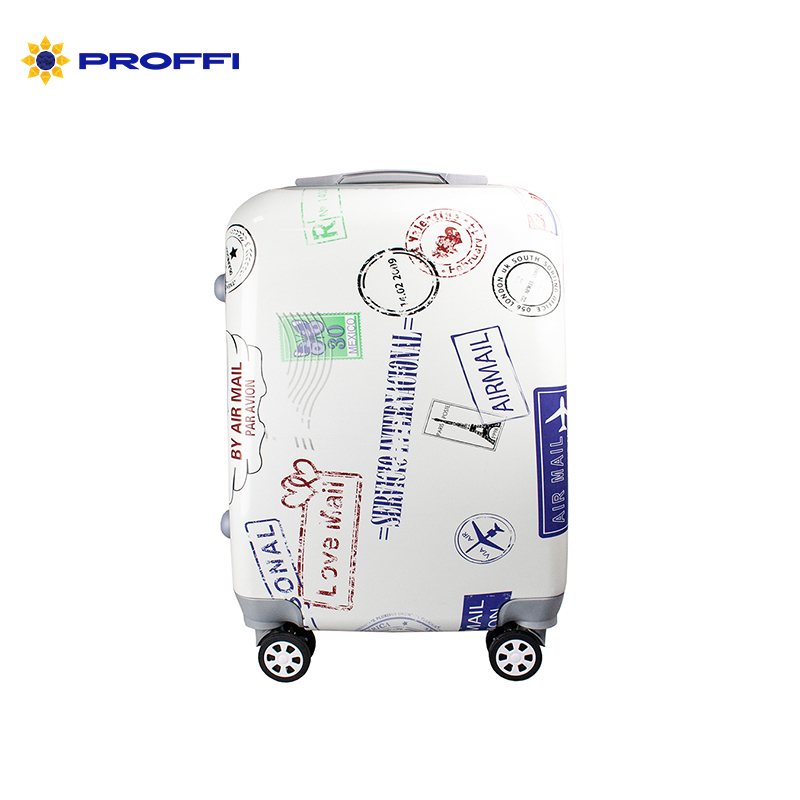 Fashionable suitcase with print PROFFI TRAVEL PH9206, S, plastic, with combination lock on wheels [available from 10 11] black suitcase profi travel ph8865 m plastic with retractable handle on wheels