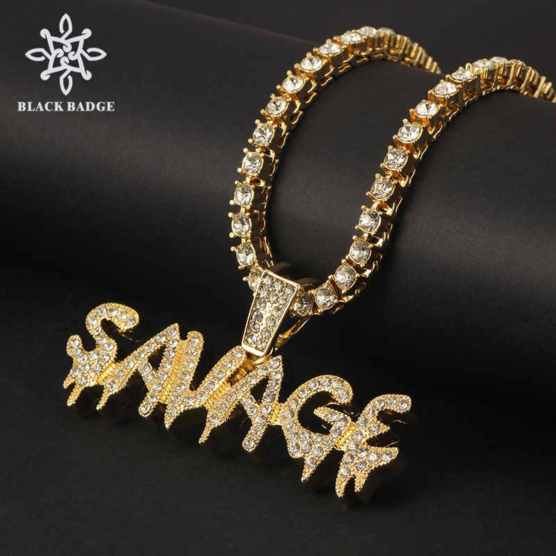 Savage Letter Necklace& Pendant Shiny Ice Out Link Chain Necklace Gold /Silver Color With Tennis Chain Hip Hop Jewelry for men