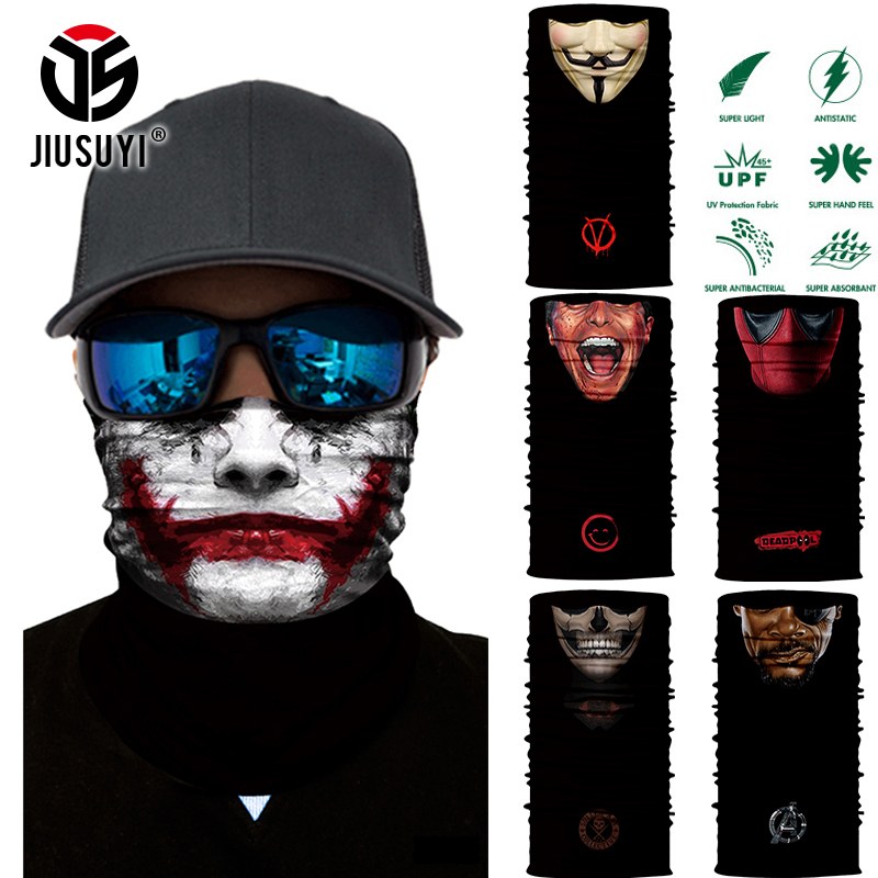 3D Seamless Multifunction Magic Tube Vampire Demon Men Skull Ghost Shield Face Mask Headband Bandana Headwear Ring Scarf Men