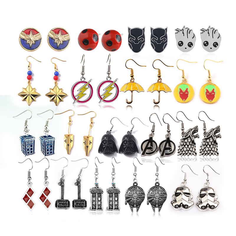 20Pcs/lot Wholesale Avengers Statement Earrings Women Baby Free Shipping Gift For Friends