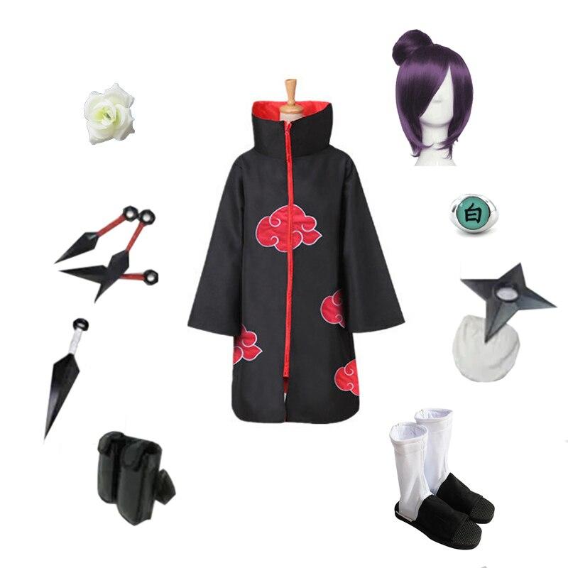 Brdwn Наруто Акацуки Конан Косплэй красное облако плащ костюм (костюм + обувь + цветок + аксессуары)