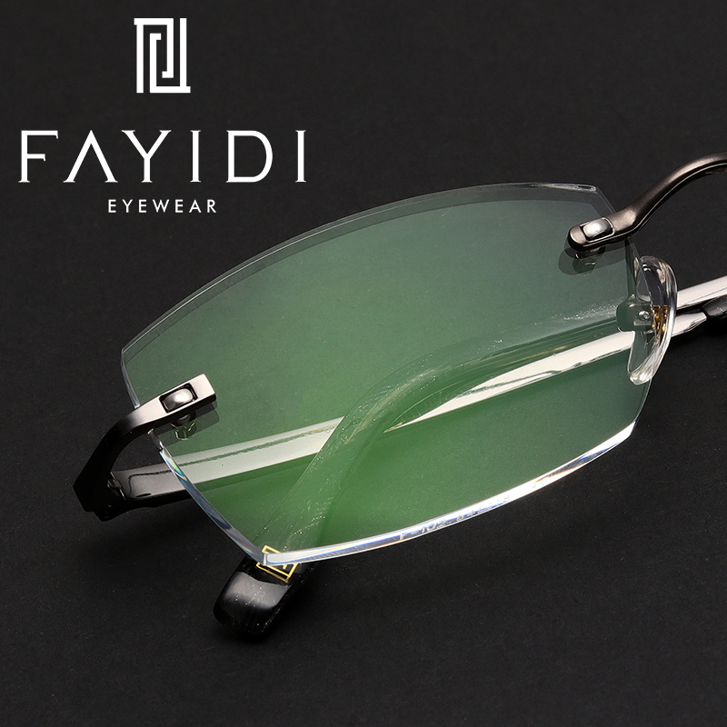 Metal Rimless Glasses Men Super Light Optical Myopia Transparent Prescription Eyeglasses #F102