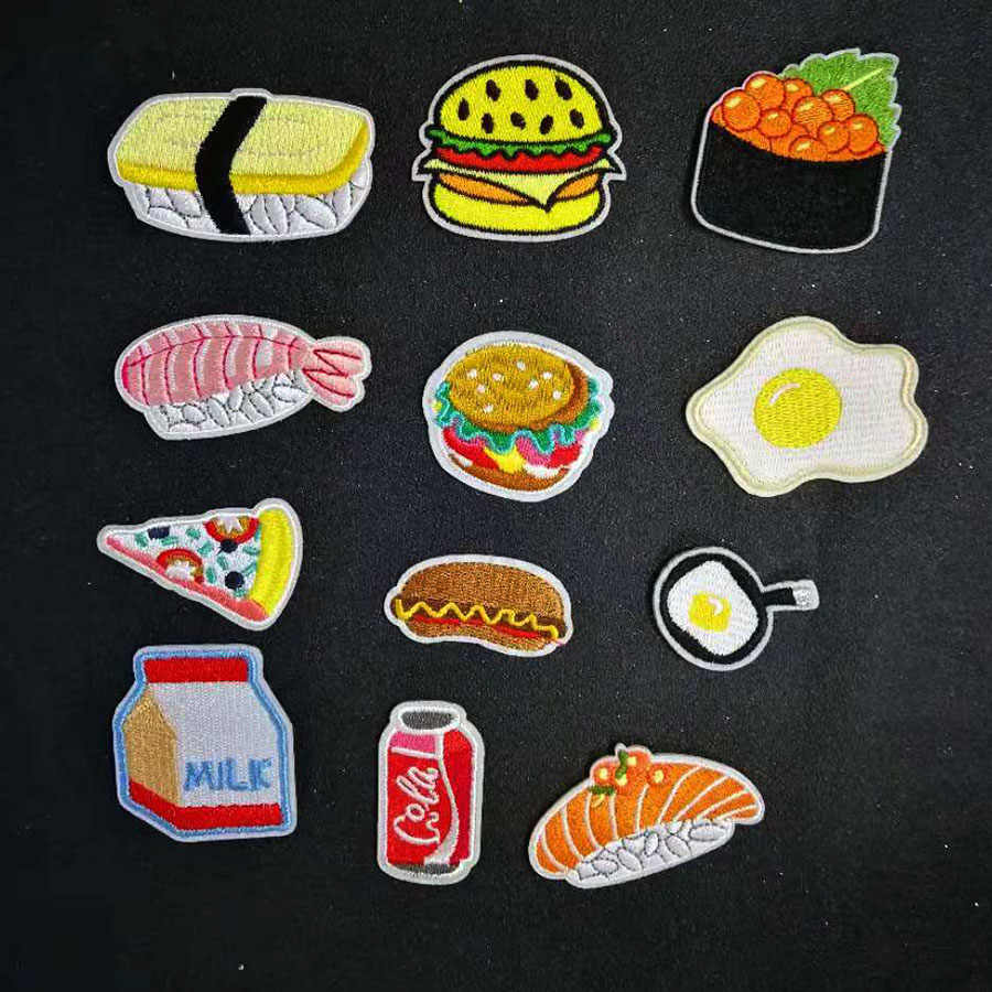 Sushi Food Egg Milk Cola lovely embroidery patch badge Iron on cute Clothes Stickers Apparel Accessories Label DIY clothes