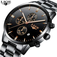 LIGE Watches Men Luxury BrandChronograph Men Sports Black Watches Waterproof Full Steel Quartz Men S Watch