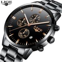 Relogio Masculino LIGE Men Watch Top Brand Luxury Quartz Watchs Casual Fashion Stainless Steel Waterproof Military