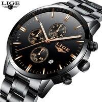 LIGE Watches Men Luxury BrandChronograph Men Sports Black Watches Waterproof Full Steel Quartz Men S Watch