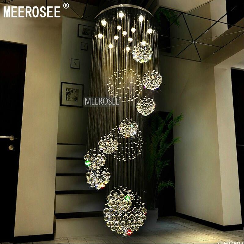 Long Ceiling Light Fixture: Modern Large Crystal Chandelier Light Fixture Spiral Lustres de cristal for  Lobby, staircase, foyer,Lighting