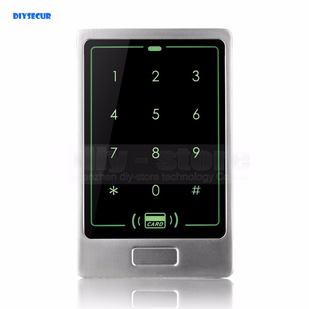 DIYSECUR 125KHz RFID Card Reader Touch Panel Backlight Metal Case Password Keypad for Access Control System Kit C20 waterproof touch keypad card reader for rfid access control system card reader with wg26 for home security f1688a
