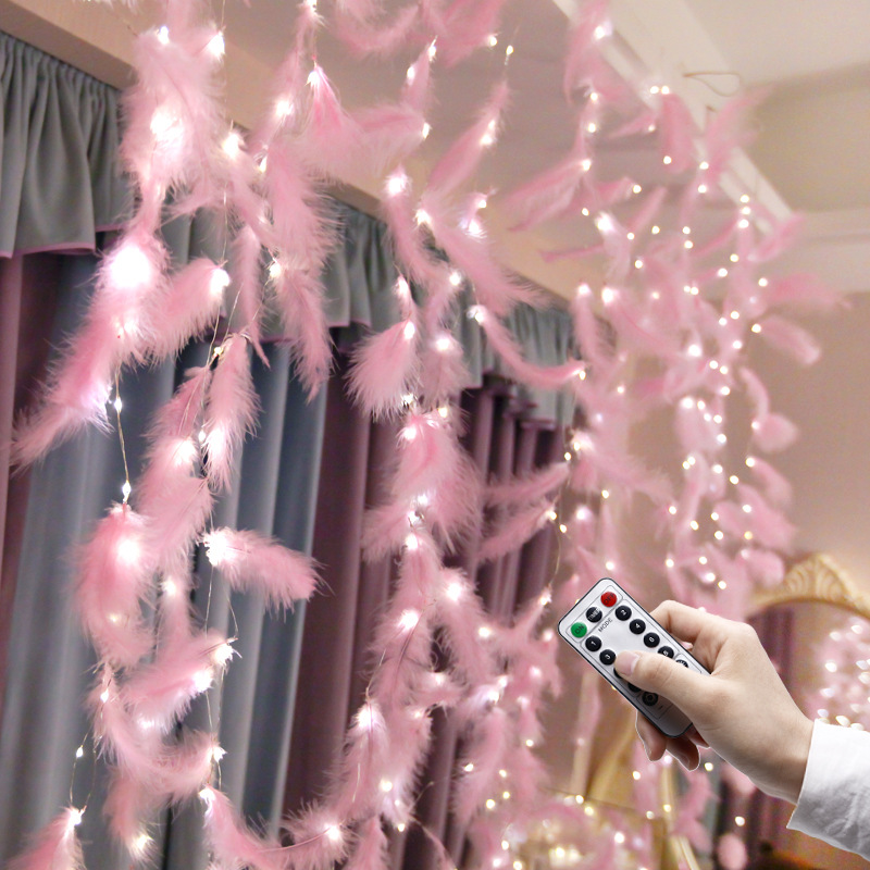 Led Strip Light Feather String Light Fairy Curtain Light Copper Wire For Bedroom Living Room INS Style Romantic Decoration Lamp