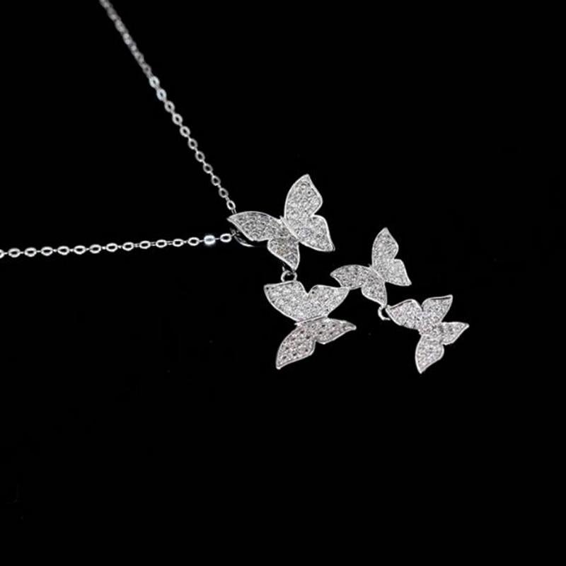 SMJEL Nove višestruke srebrne cirkonske ogrlice sa leptirima za - Modni nakit - Foto 2
