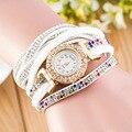 Nova Moda Quente Colorido Bling Do Diamante Cheio de Relógios Das Senhoras Das Mulheres Do Vintage Rebite Envoltório Pulseira de Pulso Assista OP001