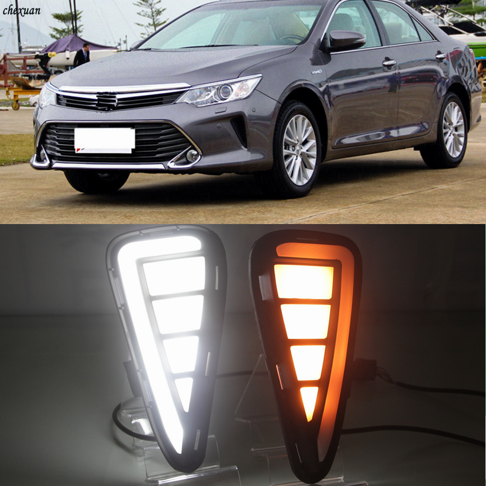 CSCSNL 1 Set LED Daytime Running Light Daylight 12v ABS Fog Lamp Cover With Yellow Turn