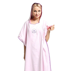 Image 2 - 90*110 Microfiber Beach Towel Wetsuit Changing Robe Poncho with Hood Quick Dry Hooded Towels for Swim Man Women Bathrobe Towels