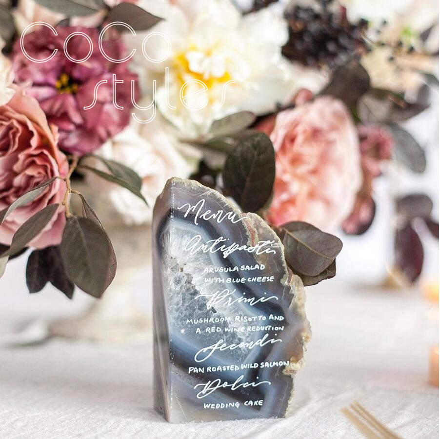 Cocostyles customized elegant agate menu card with hand writing for calligrapher wedding party menu card
