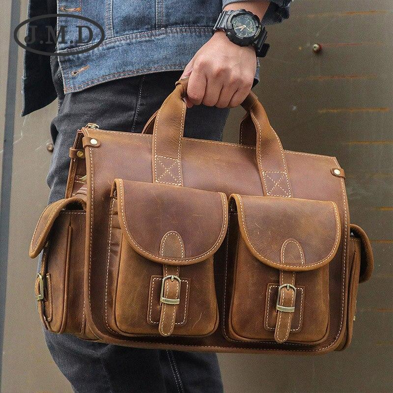 J.M.D vente chaude véritable Vintage Crazy Horse en cuir sacoche pour ordinateur portable sac sacs à main de haute qualité 7106