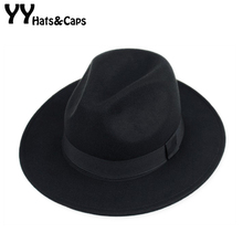 YY 60CM Wool Fedora Cap for Men Autumn Winter Vintage Felt Cap Big Size Trilby H