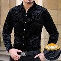 2016 Importado Roupas Mens Marca De Luxo Camisas Camisa Masculina Sociais Chemise Homme Marque Luxe cheval Slik Camisas de Veludo Fino