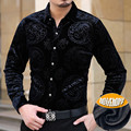 2016 Imported Clothing Mens Luxury Brand Shirts cheval Chemise Homme Marque Luxe Camisa Social Masculina Velvet Slik Shirts Slim