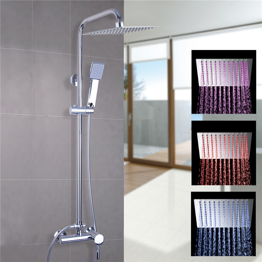 Bathroom Shower Faucet Wall Mounted Polished Chrome Mixer 8 Rainfall Shower Faucet Set with Bathroom Hand Spray Shower Set 8 led new wall mounted ultrathin spray square waterfall handheld shower chrome polished shower sets tap mixer faucet sets head