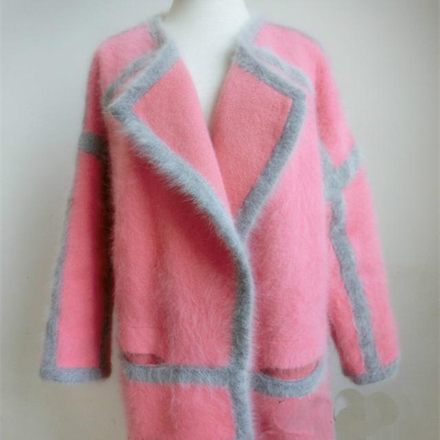 De gama alta de gran rosa Melocotón Suéter de Cachemira Visón abrigo grueso flojo de la Rebeca Larga Sección abrigo de pelo largo de Cachemira Visón