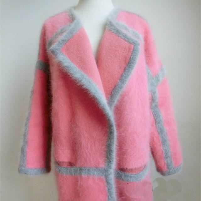 Highend большой Персик розовый Норки Кашемира Свитер пальто толстый рыхлый Кардиган длинноволосый Норки Кашемировые пальто Длинный Участок
