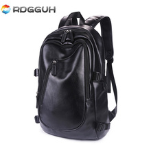 RDGGUH New Arrival Men Leather Backpack Large Capacity School Bag For College Casual Daypack Travel Laptop