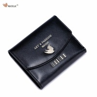 Nucelle Brand Design Fashion Causal Gold Barcode Stamping Women Girls Ladies Cow Leather Short Small Wallet