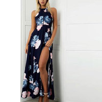 Floral Print Halter Long Dress Women Backless 2017 Maxi Dresses Vestidos Sexy Navy Split Beach