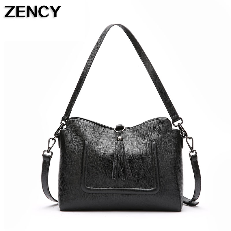 ZENCY Genuine Leather Small Women Shoulder Tassel Bags Tote Handbags First Layer Cow Leather Ladies Messenger Bag Satchel new arrival remilia scarlet griffon touhou project 1 7 scale 22 5cm action figure
