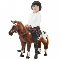 Dorimytrader 82x62cm Soft Simulation Animal War Horse Plush Toy Gift for Children Photography Props