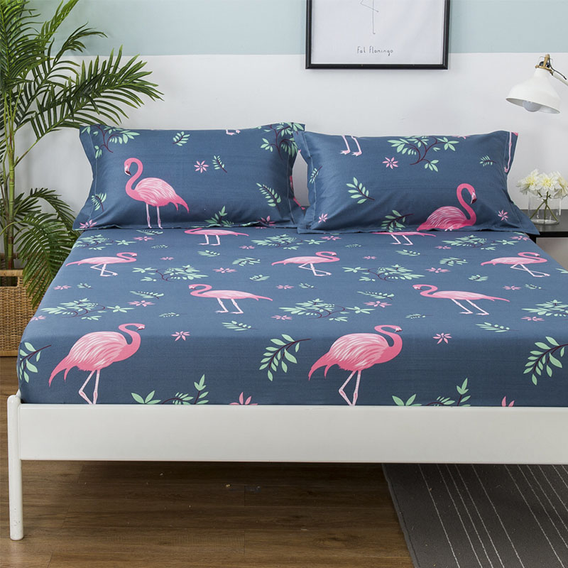 Flamingos Printed Mattress Pad Cover Bed Elastic Dust Mite Mattress Cover Protector Machine Washable Breathable Bed sheet CD-08