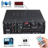 Bluetooth 2,0 канала 1200 Вт аудио Мощность HiFi Усилители домашние 326BT В 12 В в/220 В AV Amp динамик с дистанционное управление для автомобиля дома